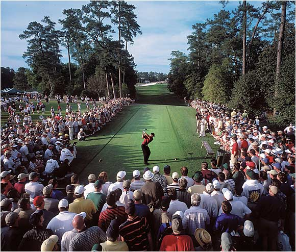 Tiger Woods tees off at the 18th hole at Augusta National during the final round of the 2001 Masters.