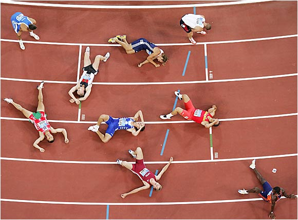 In a testament to how grueling the decathlon can be, the contestants in the 2004 Summer Olympics lie spent on the track after completing the 10th and final event, the 1,500-meter run.