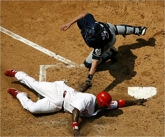 First baseman Ryan Howard slid under the tag of Chad Moeller and the Phillies salvaged the final game of their three-game series against the Brewers. Howard hit a league-leading 12 homeruns and 32 RBI's in May alone.