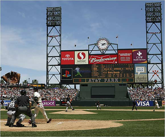 Barry Bonds slipped past the Babe, crushing No. 715 (hint: look for the ball above the clock) off of Colorado's Byung-Hyun Kim in the fourth inning of Sunday's game at AT&T Park.