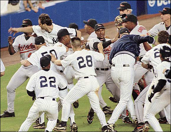 After giving up an eighth-inning, three-run home run to Bernie Williams, O's reliever Armando Benitez drilled Tino Martinez in the back with a pitch, setting off a 10-minute brawl that included a wild sucker punch on Benitez by the Yanks' Darryl Stawberry. ''It was the worst brawl I've seen in 25 years,'' George Steinbrenner said. The Yankees ended up trading for Benitez in 2003.