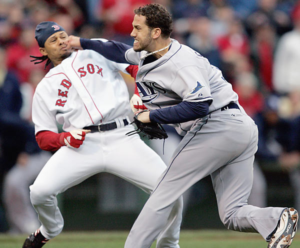 The ongoing feud between the Rays and Red Sox continued at Fenway Park on June 5, when Tampa Bay's James Shields hit Boston's Coco Crisp in retaliation for Crisp's rough slide into a Tampa Bay player the previous night. Crisp charged the mound, and both players threw roundhouse punches that failed to do any damage. A bench-clearing brawl, resulting in three ejections, followed.