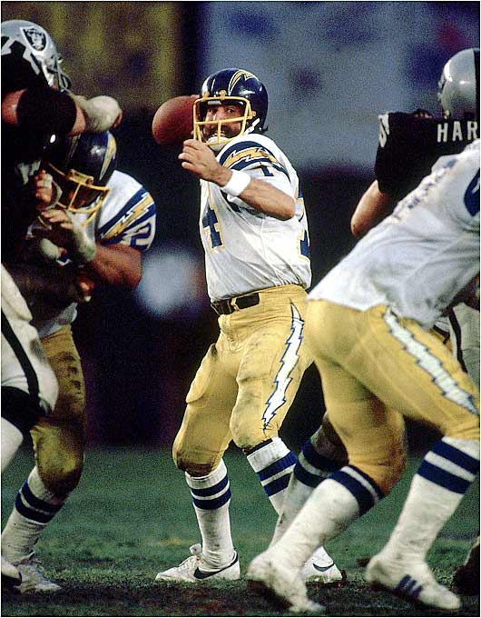 "San Diego ran the ""Air Coryell"" offense to perfection, scoring virtually at will en route to a 10-6 record and a trip to the AFC Championship Game. Hall of Fame quarterback Dan Fouts had a lethal arsenal of receivers, including Wes Chandler, Charlie Joiner and tight end Kellen Winslow. And the Chargers could move the ball on the ground with running backs Chuck Muncie and James Brooks."