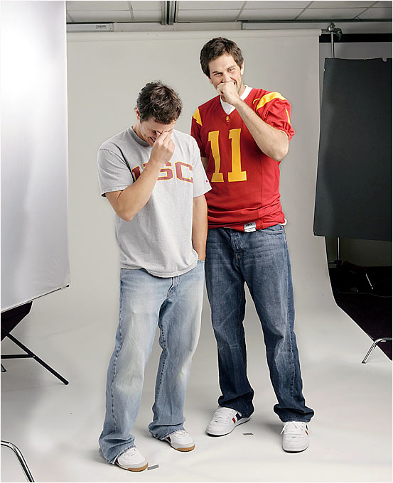 Nick Lachey and Matt Leinart share a laugh during an SIOC cover shoot in October.