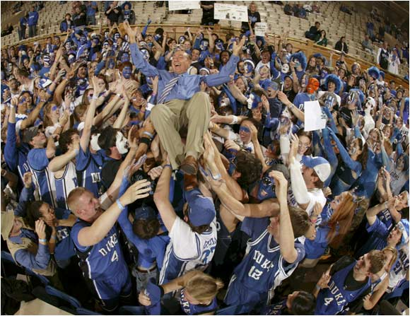 Dickie V. gets a lift from the Cameron Crazies
