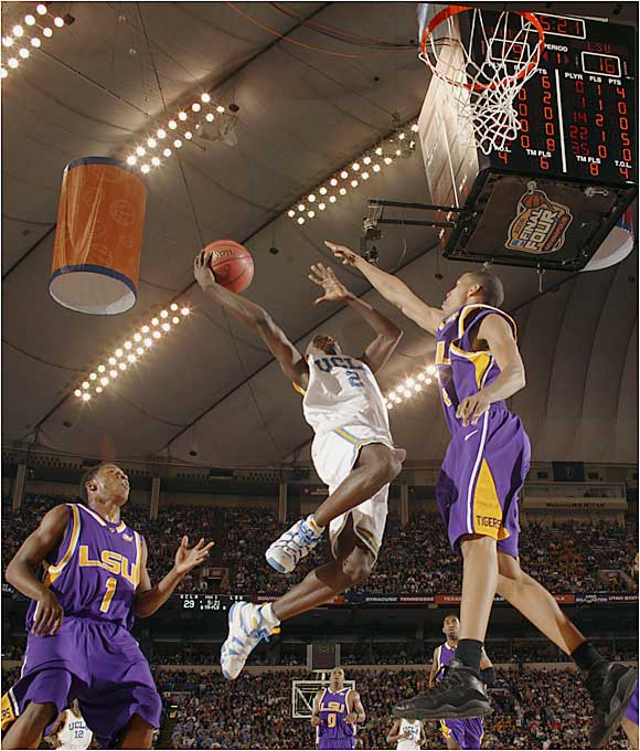 UCLA guard Darren Collinson gets airborne in the NCAA tournament semifinal against LSU.