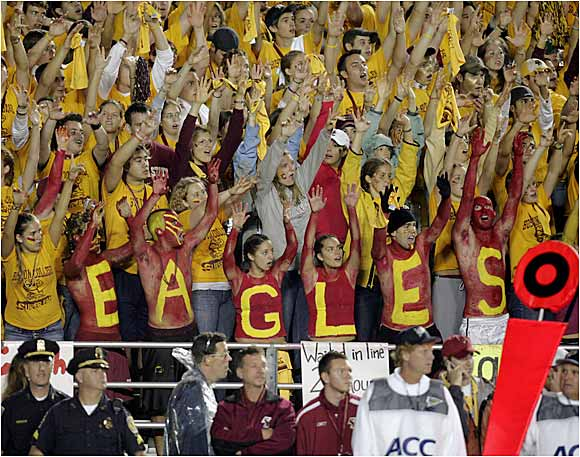 Despite the cold weather in Chestnut Hill, these Boston College fans aren't afraid to let their chests do the talking.