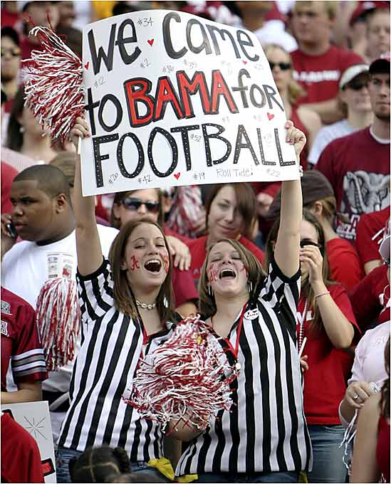 Not all Alabama students attend the school for the education, as these Tide fans show.