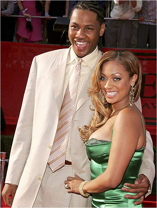 Nuggets forward Carmelo Anthony and MTV VJ Lala Vasquez, arriving here at the '05 ESPY Awards, have been engaged since Christmas 2004 and say they plan to marry after she delivers their first child in March.