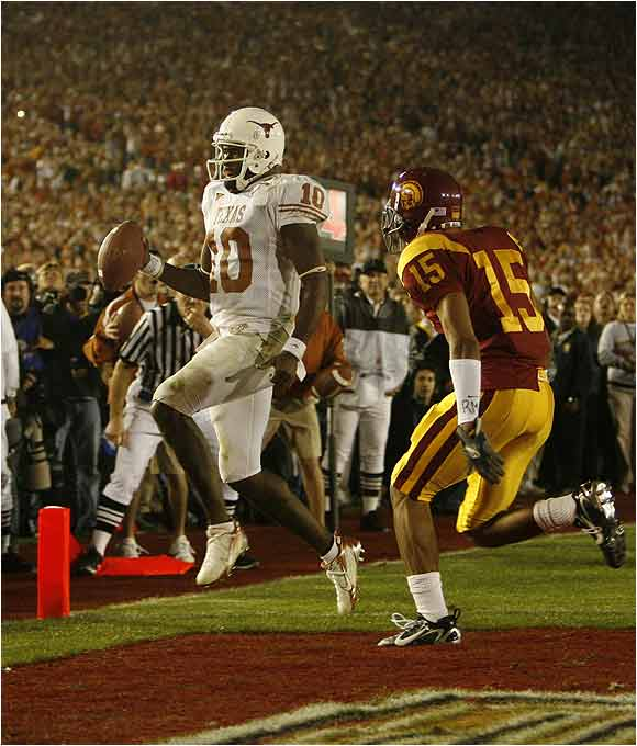 On fourth down with the national title on the line, Vince Young, scrambled eight-yards untouched into the end zone for the last of his three rushing TD's to give Texas a 41-38 lead with 19 seconds remaining to complete an improbable comeback. Young literally put the Longhorns on his back and carried them to the title.