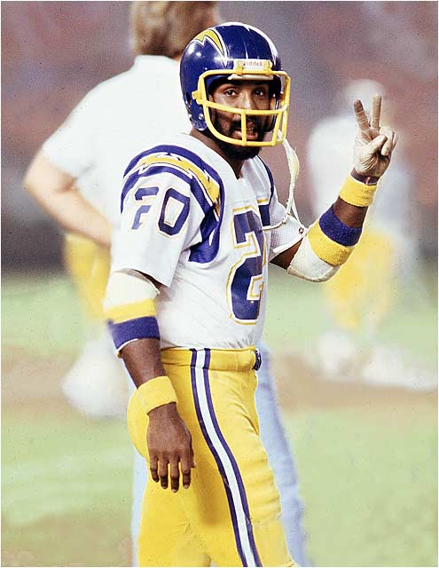 The 1972 Heisman Trophy winner was taken in the first round of the 1973 NFL draft by San Diego but signed instead with the Montreal Alouettes, where he was All-Pro and MVP. He finally joined the Chargers in 1977 but played in only 17 games over two injury-plagued seasons and gained only 49 yards rushing, 234 yards receiving and 599 return yards.