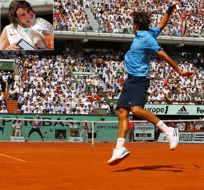 Nadal lost serve only once (despite facing 17 break points) in winning his third consecutive French Open and again denying the top-ranked Federer the career Grand Slam. Federer fell to 1-6 against Nadal on clay.    Nadal leads series 8-4.
