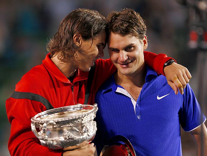 The top-ranked Nadal won his first Australian Open title and defeated Federer in a Grand Slam final for the third consecutive time. Federer was reduced to tears after failing in his first bid to tie Pete Sampras' record of 14 major titles.    Nadal leads series 13-6.