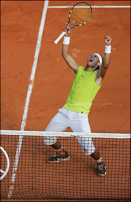 "The undisputed King of Clay, Nadal ran off his 42nd straight win on dirt when he defeated Federer in three sets. At the time, Federer had won 130 of 136 matches since the '04 Olympics, but three of those defeats were to Nadal. Still, the Swiss professed that he was getting closer to solving the mystery his nemesis posed. ""I enjoyed the battle against him, and it answers a lot of questions I was asking myself prior to the clay-court season,"" Federer said. ""This was definitely a fantastic week for me.""    Nadal leads series 4-1."