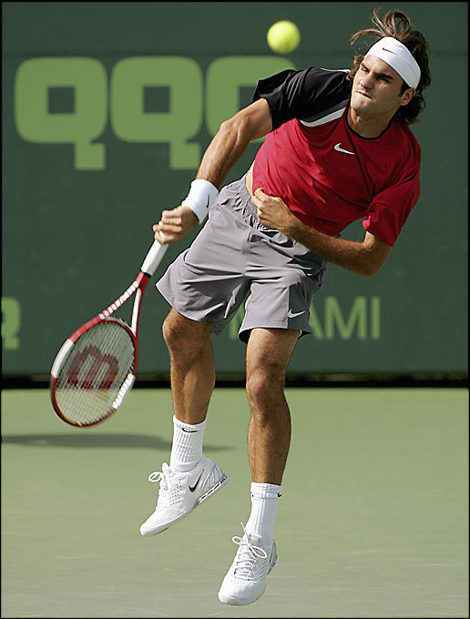 Nadal was two points from replicating his '04 win before Federer summoned his best tennis when it mattered most, prevailing in a titanic struggle. Federer's victory, predicated as much on mettle as on shot-making, solidified this as the sport's next great rivalry.    Series tied 1-1.