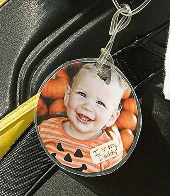 A bag tag bearing a photo of his 17-month-old son, Jaxon.