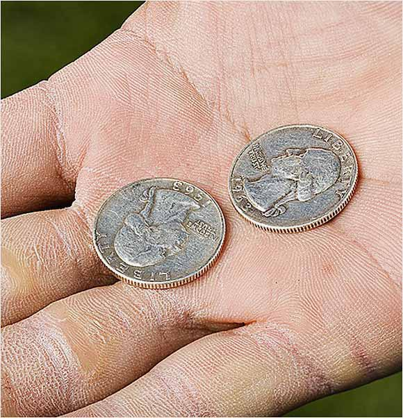 Two 1963 quarters whose dates -- minus the 19s -- denote a desired score.