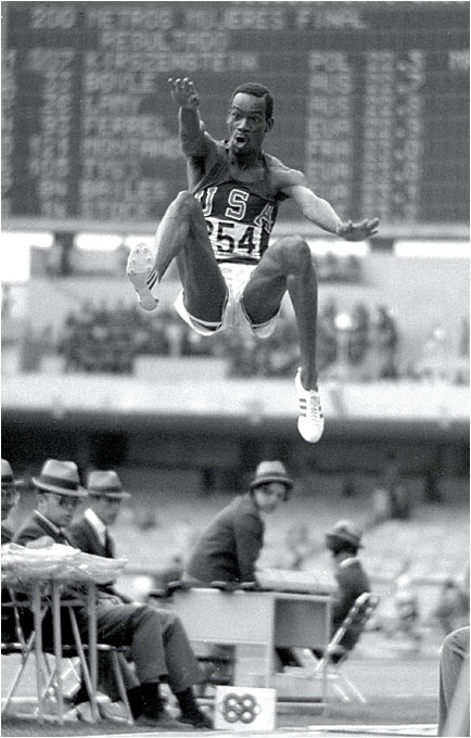 The 22-year-old Beamon barely qualified for the long jump finals at the 1968 Olympics in Mexico City, but once he got there, he set a record that stood until Mike Powell of the U.S. jumped 29 feet, 4 1/2 inches in 1991.