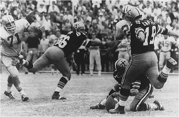 Dempsey set the NFL record from 63 yards out with seconds left in the Saints' 19-17 win over the Lions in 1970. Jason Elam tied the record in 1998, although many people think the thin air in Denver helped Elam's kick.