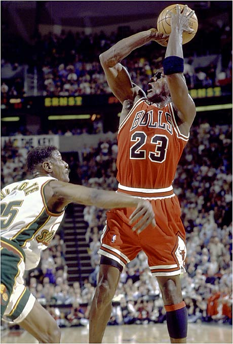 With Michael Jordan leading the way, the 1995-96 Bulls became the first NBA team to win 70 games in a season. The previous record was 69, held by the '71-72 Lakers. Right before the season, the Bulls had signed controversial power forward Dennis Rodman, who became a major contributor as Chicago went on to win the NBA title that season.