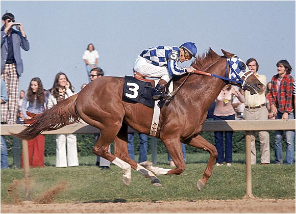 The magnificent Triple Crown winner won by an unthinkable margin in the 1973 race, finishing 31 lengths ahead of his closest competitor on the 11/2-mile track. Secretariat crossed the finish line in two minutes and 24 seconds, setting a world record for that distance.