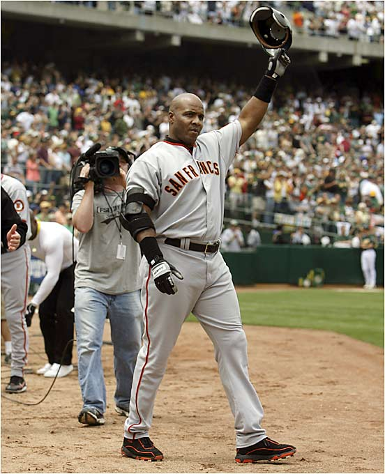 The next day, however, Bonds blasted his 714th home run deep into right-center field off A's pitcher Brad Halsey. The 41-year-old slugger is now 41 homers shy of Hank Aaron, the all-time leader.