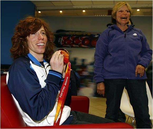 "Shaun White, a.k.a. ""the Flying Tomato,"" and his mother, Kathy, celebrate Shaun's gold medal win in the halfpipe at the Turin Olympics."