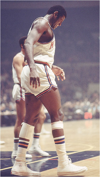 After hobbling off the court early in Game 5 with a torn thigh muscle, Willis Reed made a surprising and triumphant return moments before tip-off for the deciding game against the Lakers. Buoyed by his presence -- and his scoring the first two baskets of the game -- the Knicks won the title 113-99 behind Walt Frazier's 36 points and 19 assists.