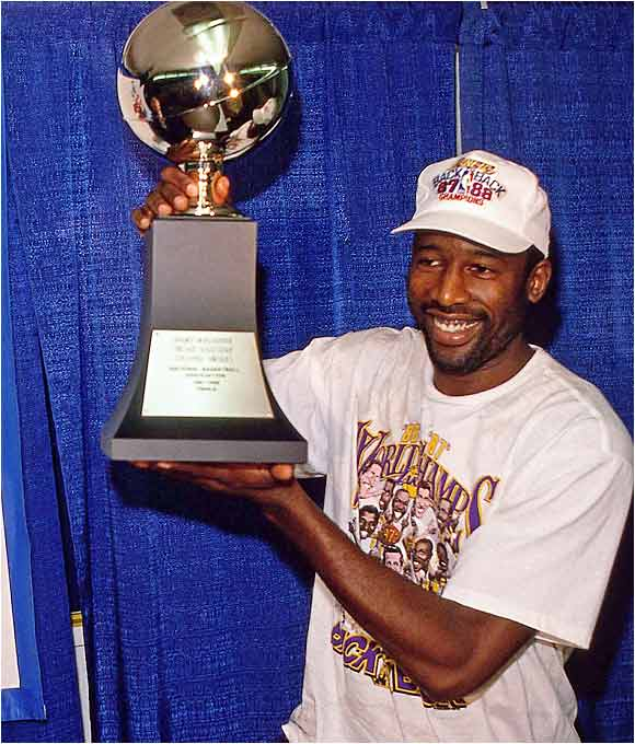 Facing an upstart Detroit Pistons club in their third Game 7 of the playoffs, the Lakers defended their NBA championship with a 108-105 win in Los Angeles. Finals MVP James Worthy led the way with 36 points and 16 rebounds, making good on coach Pat Riley's guarantee that the Lakers would hold onto their title.