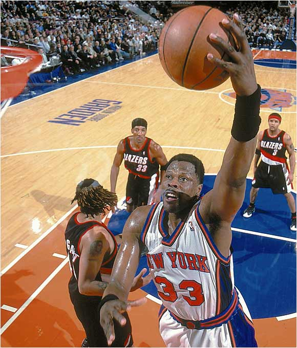 After winning an NCAA championship at Georgetown in 1984, Ewing was drafted first overall by the Knicks in the hope that he could bring the team back to the good old days of Walt Frazier and Willis Reed. Unfortunately, a man named Jordan and his Chicago Bulls were too much for the Knicks to overcome, as they were eliminated from the playoffs by the Bulls five times. It wasn't until MJ's (first) retirement in 1999 that Ewing's Knicks were able to reach the Finals, losing to the Spurs in the strike-shortened 1998-99 season. Ewing was Rookie of the Year, an 11-time All-Star and stands as the New York Knicks' all-time leader in games (1,039), points (23,665), minutes (37,586), field goals made (9,260), field goals attempted (18,224), free throws made (5,126), free throws attempted (6,904), rebounds (10,759), steals (1,061) and blocks (2,758).