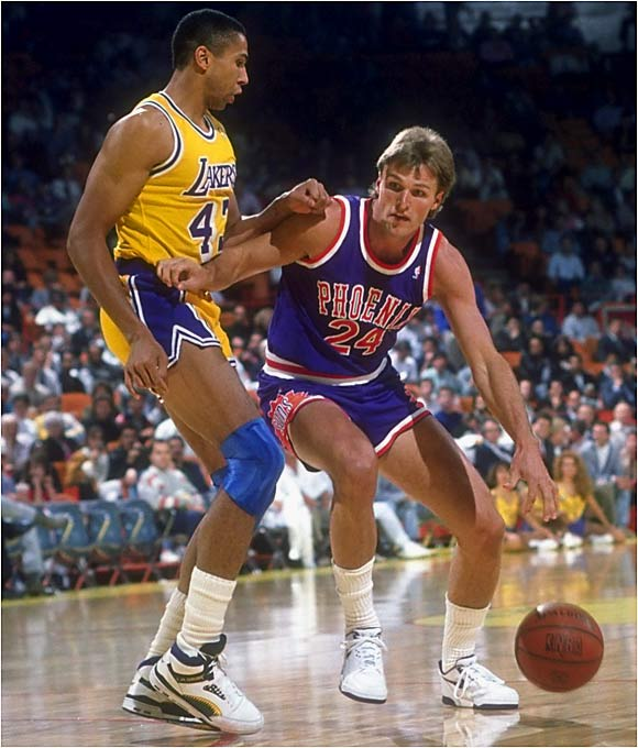 The pre-Charles Barkley Suns, led by Tom Chambers and Kevin Johnson, weren't supposed to be much of a challenge for the top-seeded Lakers. But after splitting the first two games, the Suns took three straight to win the series. Despite winning his third straight MVP, Magic Johnson couldn't do much to help his squad pull out the victory. The Suns, who featured six players with double-digit scoring averages during the regular season, advanced to the conference finals, where they were promptly dismissed by Portland.