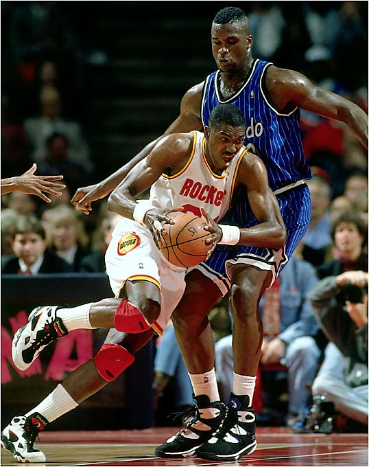 "This was a battle of the big men: Orlando's young stud, Shaquille O'Neal, against Houston's Hall of Fame-to-be center, Hakeem Olajuwon. Orlando, with a 57-25 regular-season record, was the No. 1 seed in the East while Houston carried a more pedestrian 47-35 record and was seeded No. 6. But Kenny Smith, Robert Horry, Sam Cassell and Clyde Drexler, who was acquired midseason, were too much for the young Magic to handle as the Rockets took their second championship of the ""Michael Jordan in professional baseball"" era."