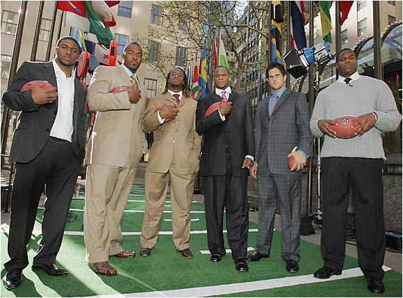 They came, they saw and they left New York as future millionaires: (from left) Reggie Bush, Mario Williams, Vernon Davis, Vince Young, Matt Leinart and D'Brickashaw Ferguson.