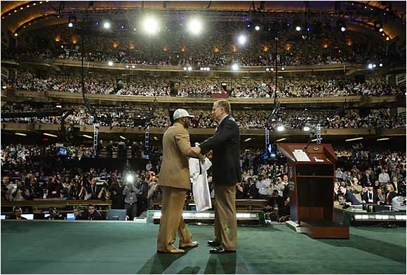 The NFL draft moved from Madison Square Garden to the Jacob Javits Center in 2005, and to Radio City Music Hall in '06, because the NFL was mad at Garden officials for opposing a new stadium for the New York Jets on the west side of Manhattan.