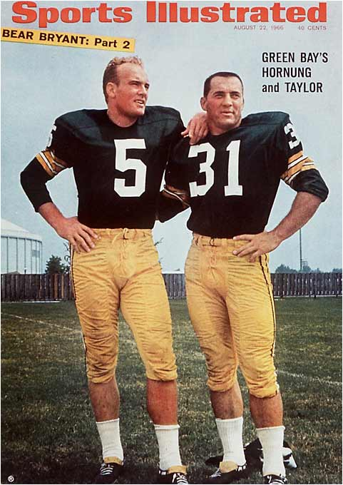 "Before becoming a running back with the Packers, Hornung was a star quarterback at Notre Dame, and Green Bay gave the ""Golden Boy"" the same Number 5 he made famous with the Irish. The NFL didn't implement rules requiring numbers for specific positions until the 1970s."