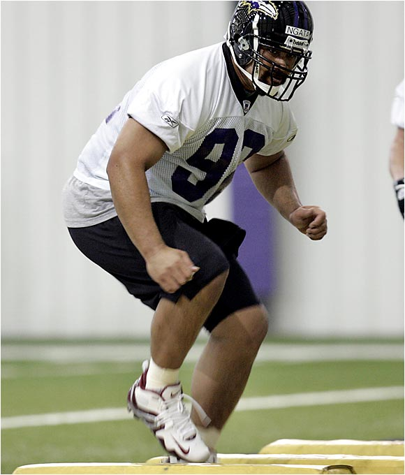 Coach Brian Billick said Ngata's combination of size and speed is eye-opening. The massive tackle is on track to be a starter for this defense. Ngata, however, will have to miss several workouts, because final exams aren't yet over at Oregon.