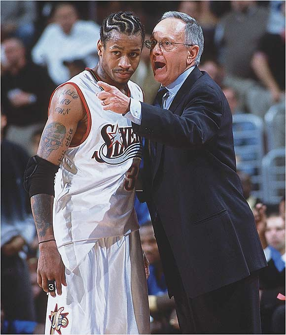 """Brown: """"How would you feel if a guy didn't show up for work? Why is it my problem if a guy is not ready to practice? If a guy is going to react where he's upset at me for pointing that out, that shouldn't be my problem. In his mind if he shows up and plays, he's doing his job. And [Allen] doesn't cheat you in that respect at all. But there are certain responsibilities you have when you are a great player. People expect you to be at your best every single night. And if you don't take care of yourself, or if you don't prepare or practice, sometimes you're not able to play at the level you're expected.""""   Iverson: """"The people around me, the organization, I don't think they treat me like the franchise player. I'm treated like the 12th guy on the bench with this franchise, believe it or not."""""""