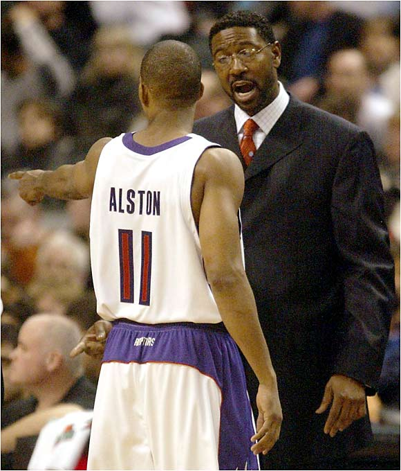 "The Raptors coach and point guard feuded throughout the 2004-05 season, highlighted by a number of arguments, some rumored to verge on physical altercations and benchings.   Alston: ""When I walked out of practice the other day, I was man enough to apologize, I was man enough to say I made a mistake. Somebody better be man enough to say they made a mistake.""   Mitchell: ""I'm an emotional person and I'm getting better at it. Rafer's an emotional player and he's getting better at it. We're all working to channel our emotions in the right direction."""
