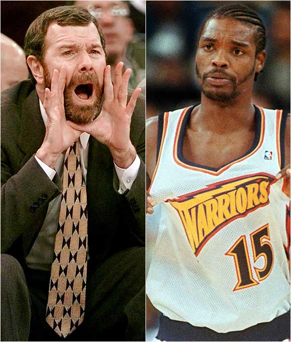 "Simmering tension between Sprewell and Carlesimo exploded in a Warriors practice when Sprewell choked the then Golden State coach, leading to the temporary termination of Sprewell's contract before it was reinstated by an arbitrator.   Sprewell: ""I wasn't choking P.J. I mean, P.J., he could breathe. It's not like he was losing air or anything like that. I mean, it wasn't a choke, I wasn't trying to kill P.J.... If you're choking someone, you don't get scratches. You get welts totally around your neck. It's not like I was going to sit there and kill the man. No, I would have stopped, definitely.""   Carlesimo: ""I think it's more important that you're respected and it's more important that you're effective than you be liked. Coaching isn't a popularity contest. You'd like to be liked, but if you're concerned with that in coaching, you're not going to be successful."""