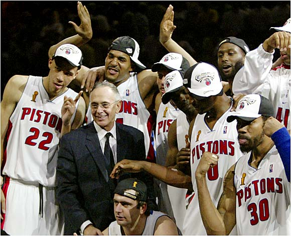 In his first season with the Pistons (2003-04), Brown became the first male coach to have won both an NCAA and an NBA title, but the good times didn't last for long. Late in the next season, the Pistons grew tired of reports that Brown was negotiating for a new job and bought out his contract.