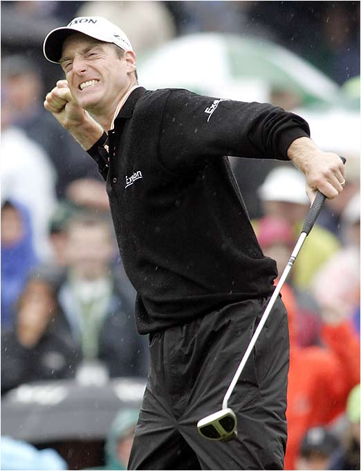 Jim Furyk punches the air after winning the Wachovia Championship in a playoff against Trevor Immelman. It was Furyk's 11th Tour win and moves him to fifth in the World Golf Rankings.