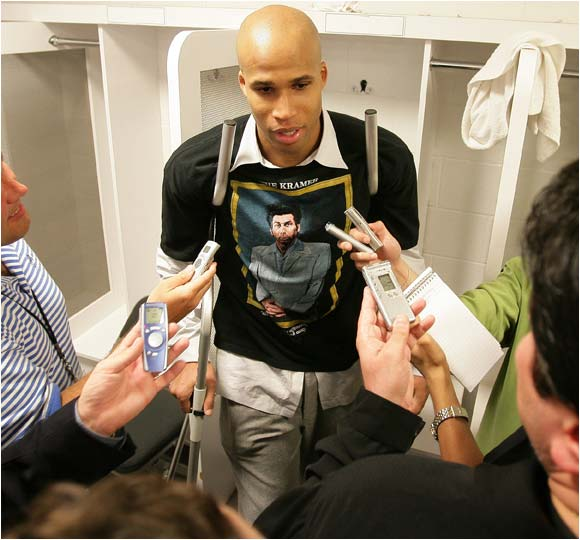 We love Richard Jefferson's shirt, but we have to wonder if it complies with the NBA dress code.