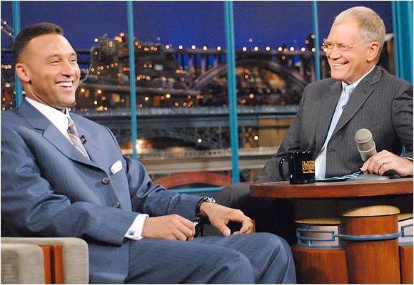 David Letterman and Derek Jeter get a laugh out of George Steinbrenner calling out Alex Rodriguez earlier this week.