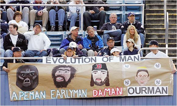 "These Yankees fans get an A for creativity, but let's be honest, ""Ourman"" looks more Pee-Wee Herman than Johnny Damon."