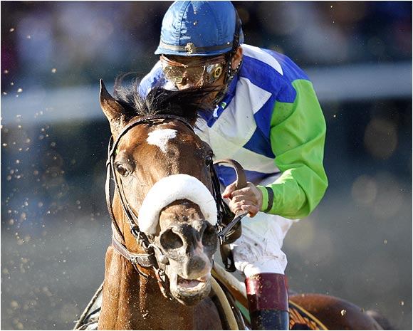 Barbaro was in the middle of the pack when he suddenly dropped back, favoring his right rear leg.