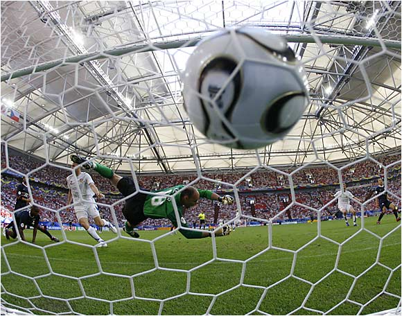 U.S. keeper Kasey Keller was beaten three times, including this header by Jan Koller just five minutes into the match.