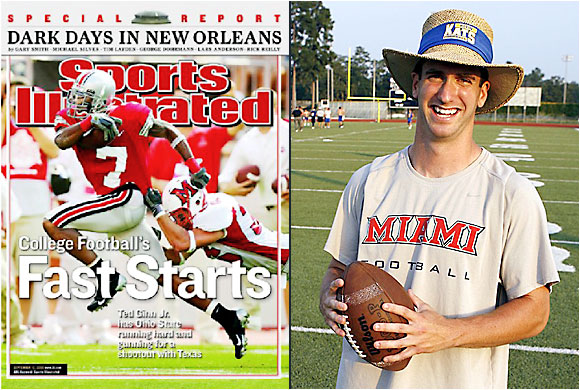 "In this 2005 cover shot of Ohio State wide receiver Ted Ginn Jr., Miami of Ohio linebacker Burke was along for the ride. ""People see this and think I got dragged across the field,"" says Burke, 22, who graduated in May. He now lives in Houston and works for a global accounting firm. ""Actually, I tackled Ted on our five-yard line. We held the Buckeyes on that series, and they settled for a field goal. Of course, we lost 34-14."""