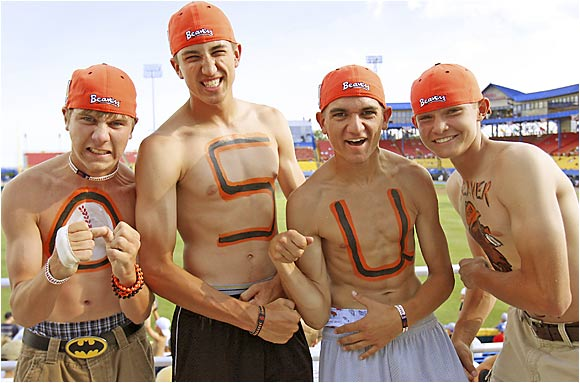 "Future Oregon State students proudly bear the ""OSU"" letters on their chests."