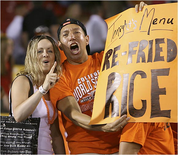 Unfortunately for these fans, Rice was fried by Oregon State, who eliminated the Owls from the CWS.