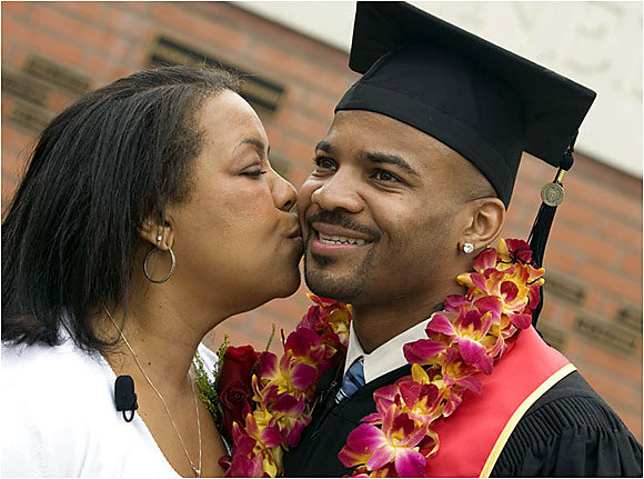 As a Mother's Day present this year, Cleveland Browns defensive back Daylon McCutcheon surprised his mom by taking part in graduation ceremonies at USC.